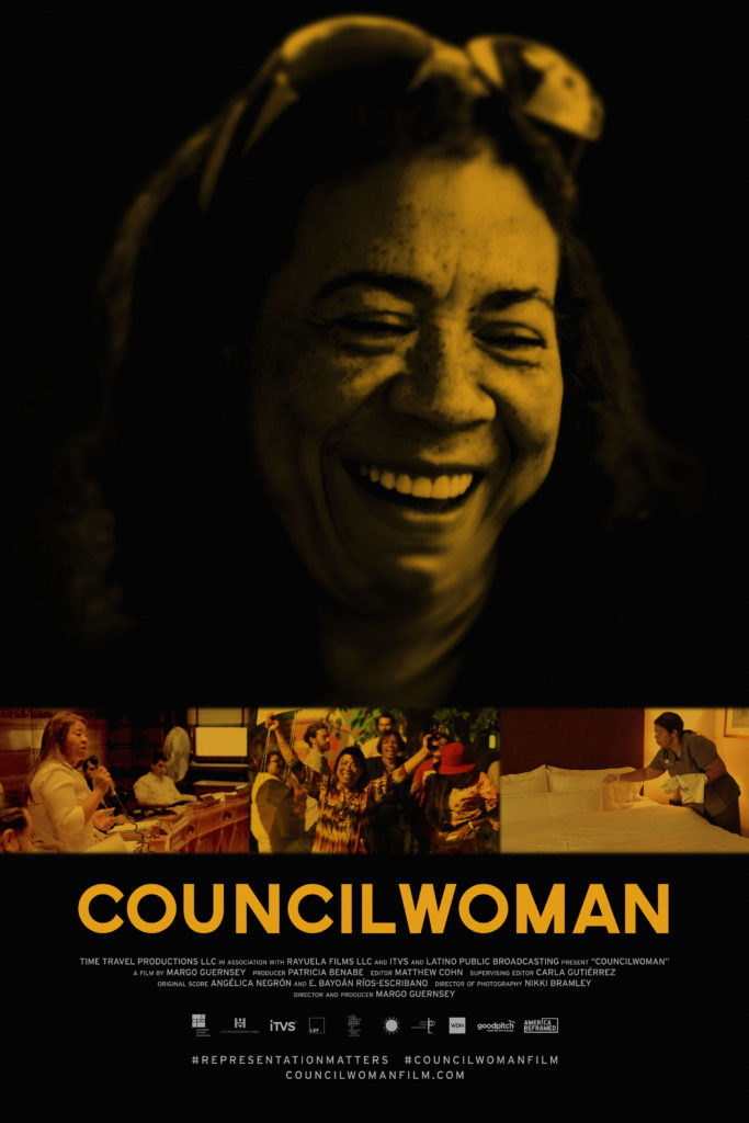 Film poster for Councilwoman with photos of Carmen Castillo