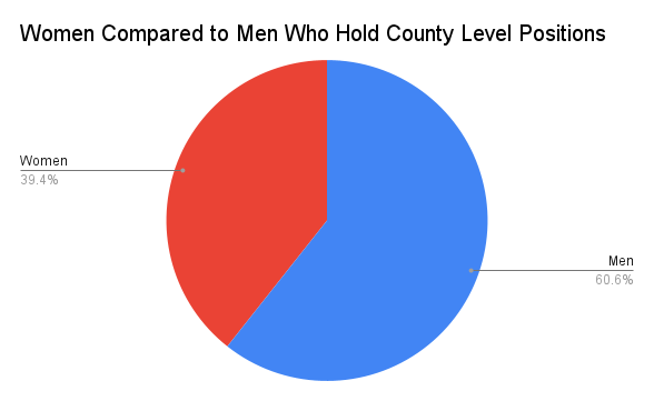 Pie chart showing number of Colorado county elected officials who are women and men